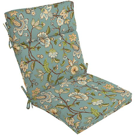 Better homes and gardens floral outdoor chair cushion blue jacobean for Better homes and gardens patio furniture cushions