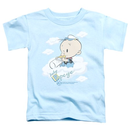 Trevco Popeye-Baby Clouds Short Sleeve Toddler Tee, Light Blue - Small 2T - Baby Popeye