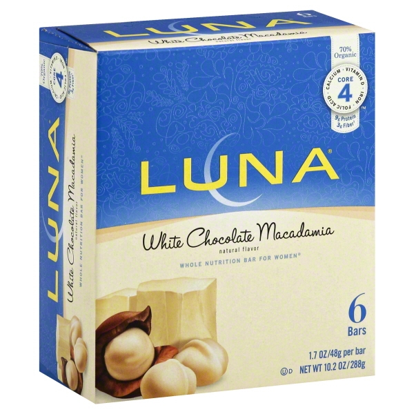 LUNA White Chocolate Macadamia Whole Nutrition Bars for Women, 1.69 oz, 6 count