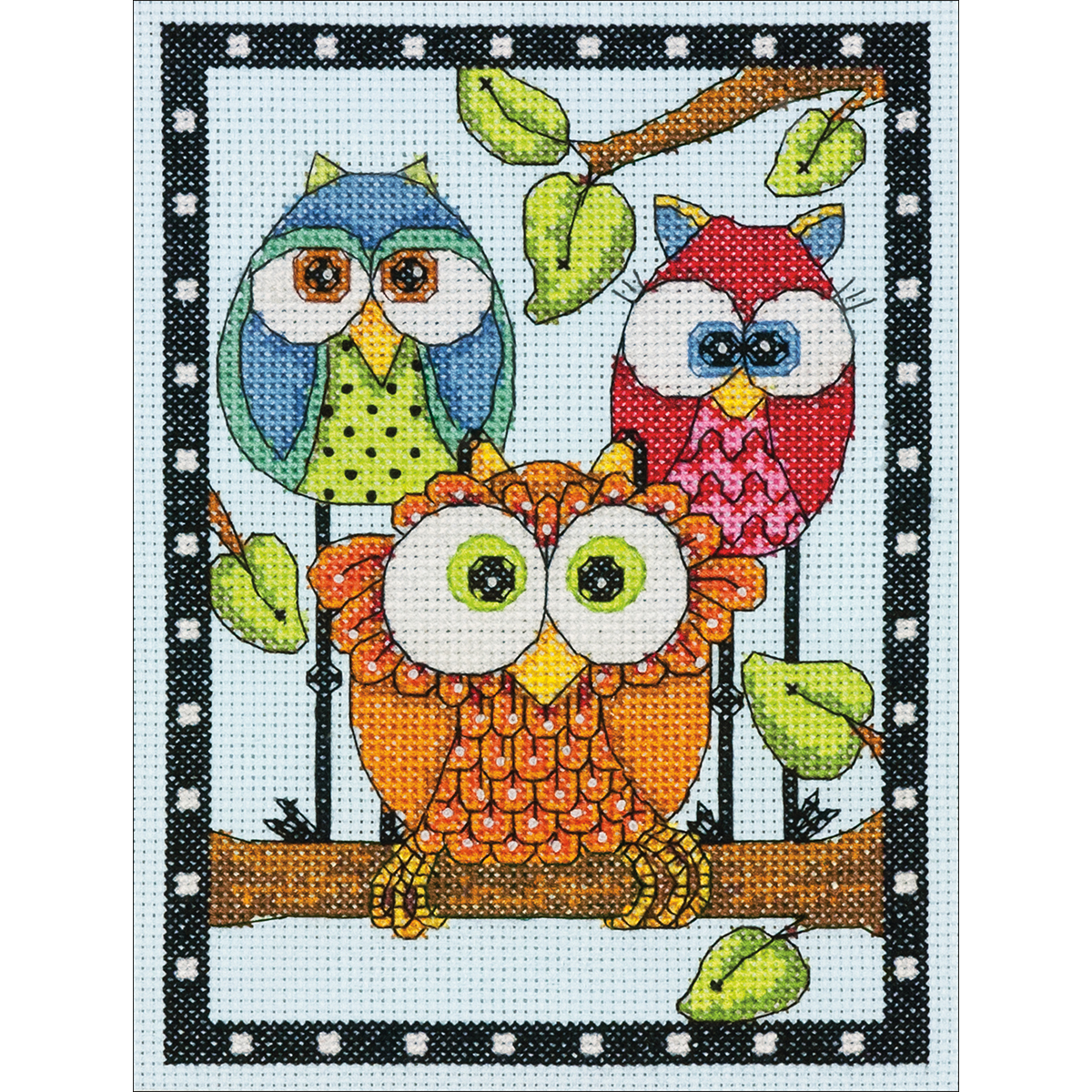 "Dimensions Mini Counted Cross Stitch Kit 5""X7""-Owl Trio (14 Count)"
