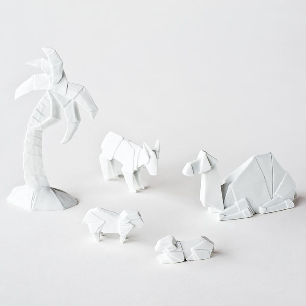 Image of Christmas Decoration - Origami Nativity Additional Figures - Porcelain