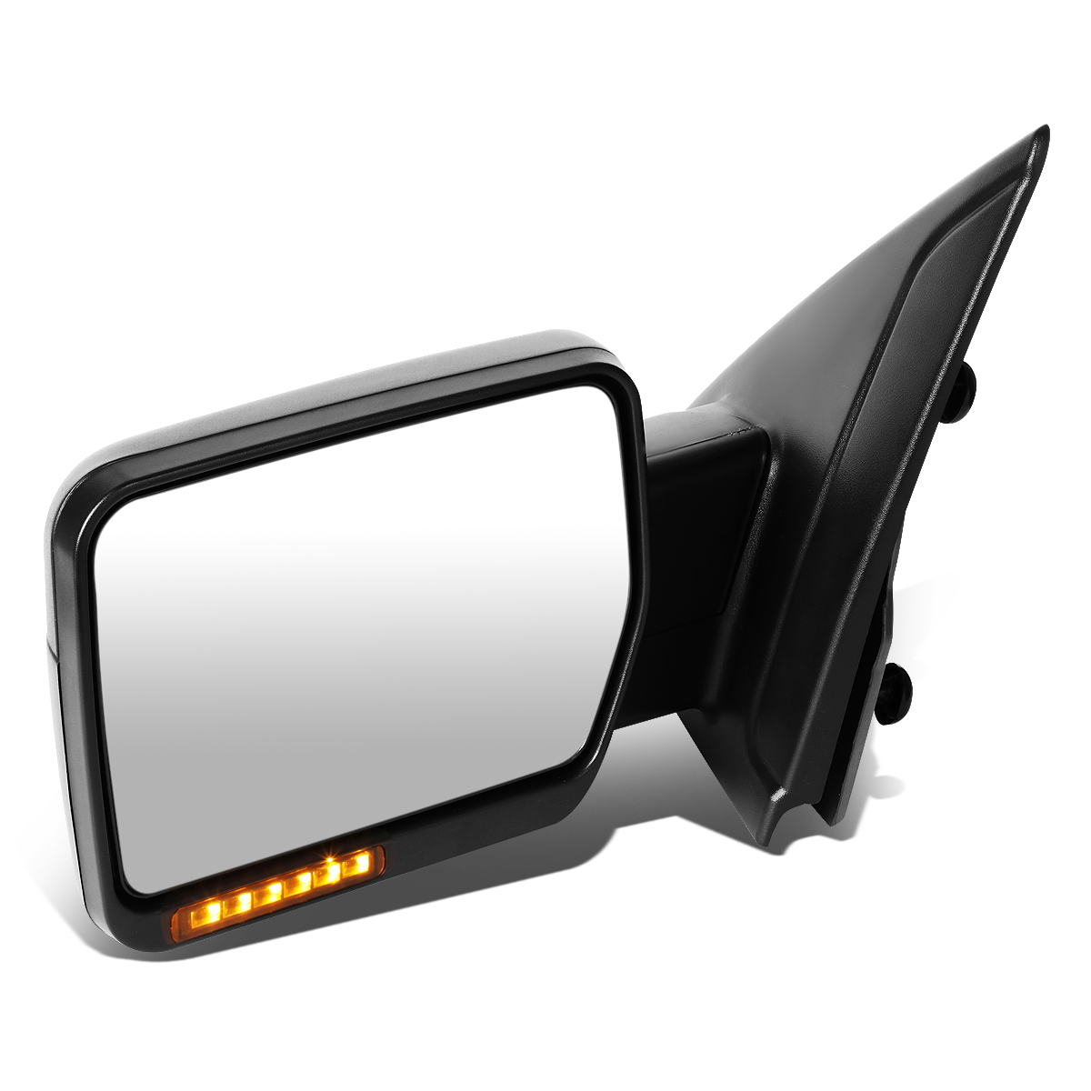 For 04-14 Ford F-150 Black Amber Signal + Manual Extendable Side Towing Mirrors (Left/Driver)