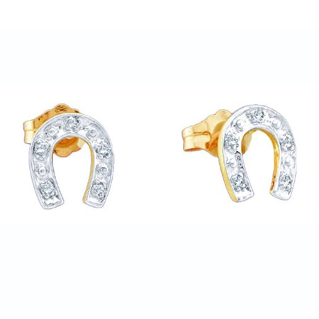 0.05 Carat (ctw) 10K Yellow Gold Round White Diamond Ladies Horse Shoe Earrings White Gold Diamond Horse