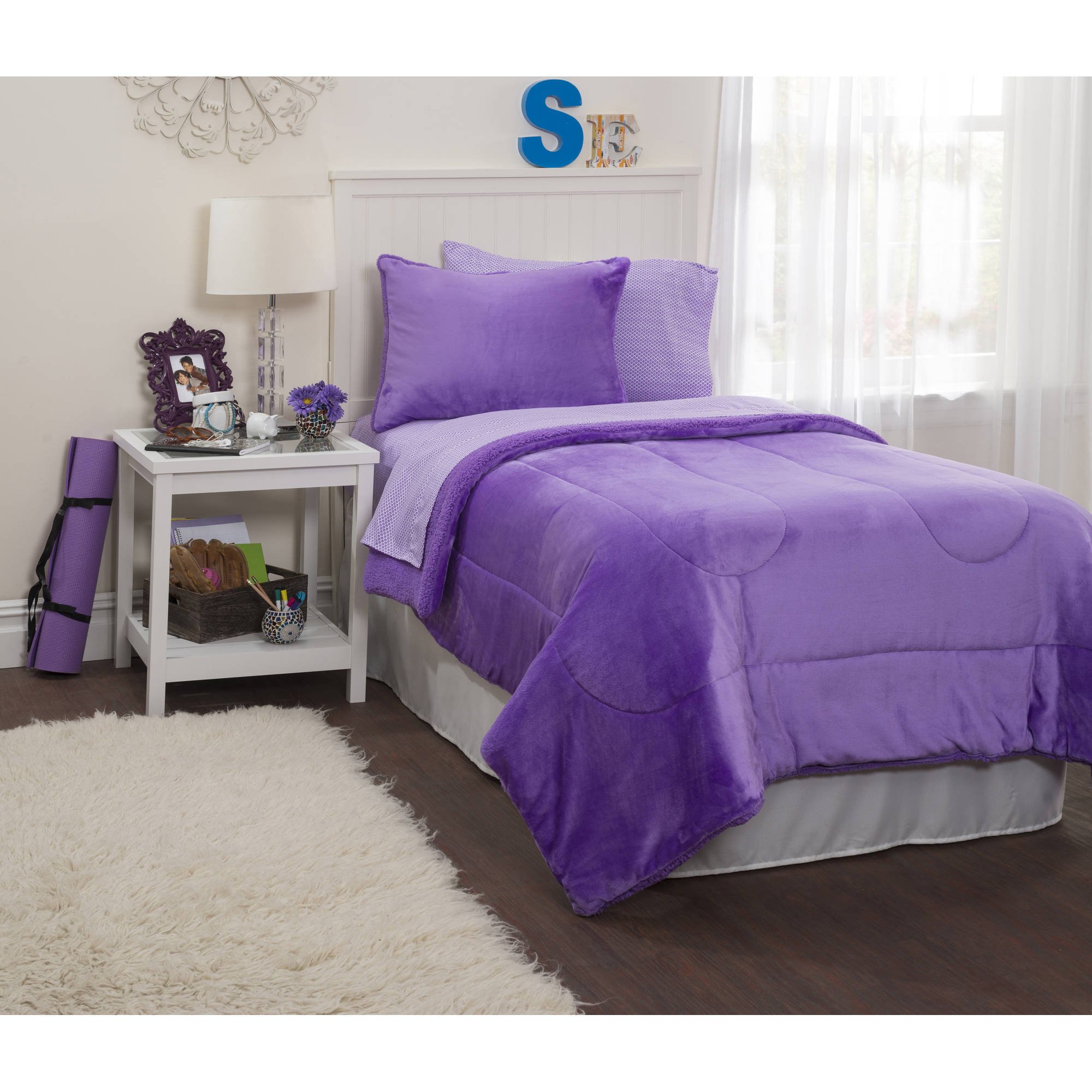 Latitude Lavender Royal Plush Reverse To Sherpa Bed in a Bag Comforter Set