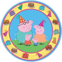 """7"""" Peppa Pig Round Paper Party Plate, 8ct"""