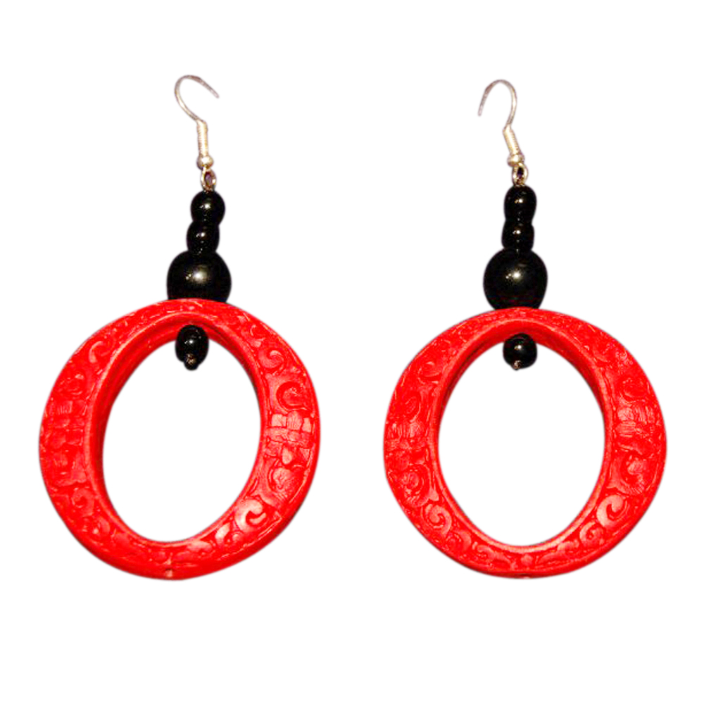 Jademarket Hongkong Large Cinnabar Hoop Earrings with Intricate Carved Detail