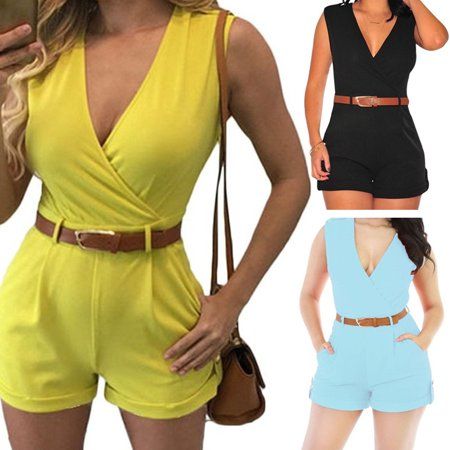 Women Jumpsuit Short Trousers Summer Rompers Beach Casual Sleeveless Playsuit - Romper Adult
