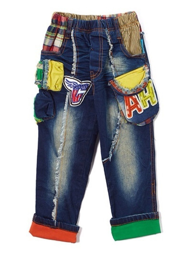 Rock'nStyle Boys Blue Denim Letter Pockets American Flag Patches Pants