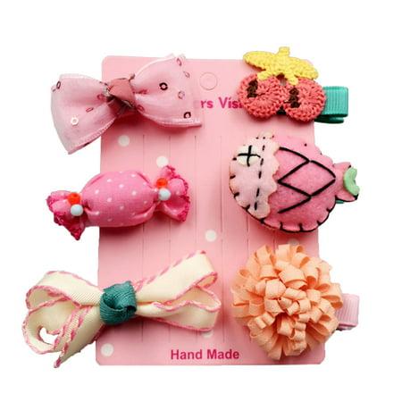 Baby Princess Little Girls Cartoon Animal Bow Hair Clips Assorted Design Mixed Colors 6pcs Set (Pink Fish)