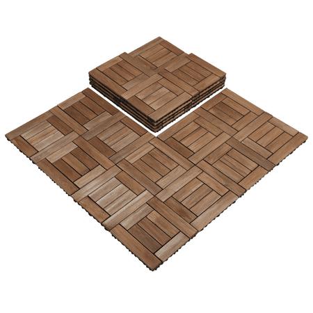 27pcs Wooden Floor Tiles Interlocking Wood Tiles for Outdoor & Indoor Patio Garden Deck Poolside 12 x 12