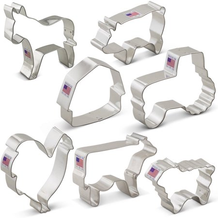 Cow Cookie Cutter - Farm Cookie Cutter Set - 7 piece - Rooster, Cow, Pig, Lamb, Donkey, Barn and Tractor - Ann Clark - Tin Plated Steel
