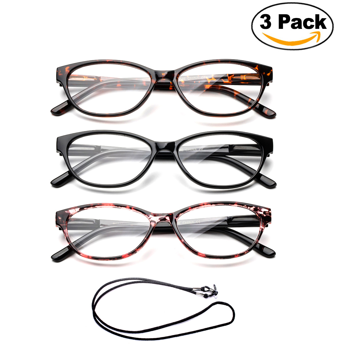 "3 Pack Newbee Fashion- ""Slimten"" Slim Cat Eye Design Fashion Reading Glasses with Lanyard +1.00"