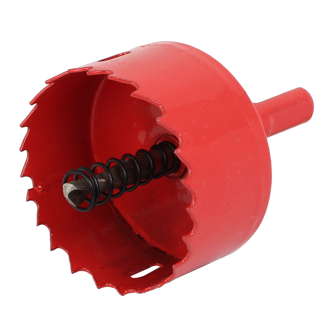 55mm Cutting Dia M42 HSS Spring Loaded Bi-Metal Hole Saw Drilling Tool Red
