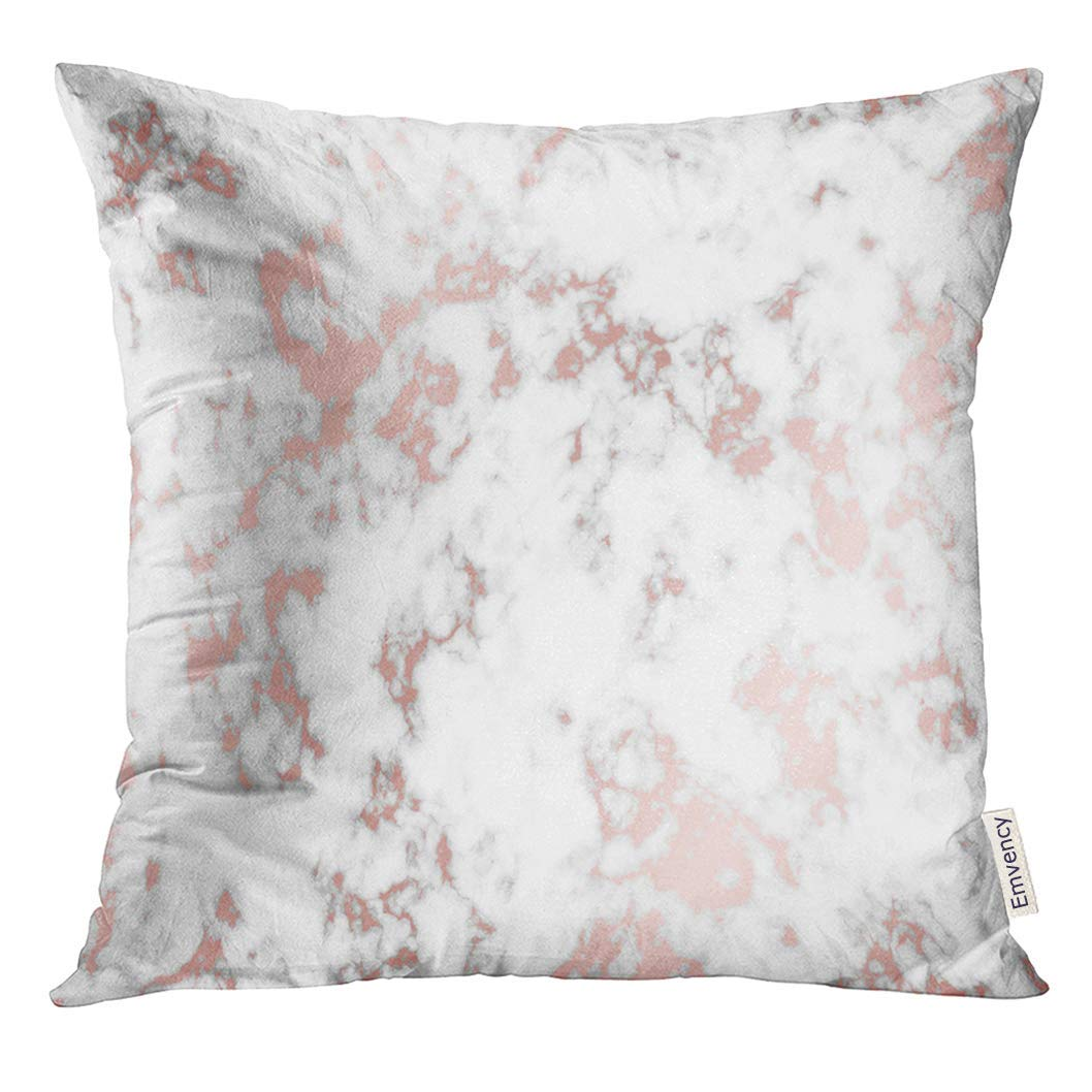 USART Pink Metal Marble with Rose Gold Trendy Party Birthday Wedding Pillow Case 18x18 Inches Pillowcase