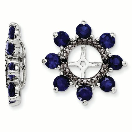 Sterling Silver Rhodium Created Sapphire & Black Sapphire Earring Jacket 1.8grams (L 17mm W 17mm)Sterling silver | Rhodium-plated | Created Sapphire | Black sapphire