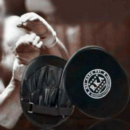 2x Thai Leather Boxing Mitt Training Target Focus Boxing Target Kick MMA Punch Glove Pad Combat Karate