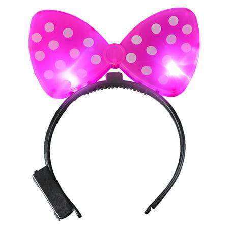 Child's Polkadot Bowtie Light Up Purple Bow Headband Costume Accessory
