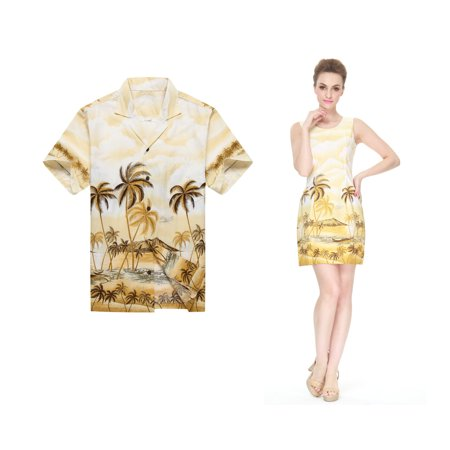 Made in Hawaii Couple Matching Luau Aloha Shirt Tank Dress Palm Edge Yellow 3XL-S - Couple Dress Up