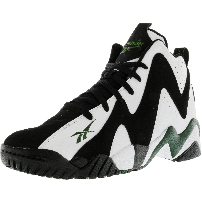 Reebok - Reebok Men s Kamikaze Ii Mid White   Black Racing Green High-Top Basketball  Shoe - 12M - Walmart.com 9b712a3dd