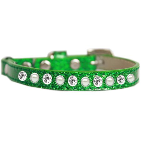 Pearl And Clear Jewel Ice Cream Cat Safety Collar Emerald Green Size 12 ()