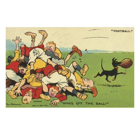 Postcard Cartoon of Rugby Match Print Wall Art By Rykoff Collection (Animal Print Rugby)