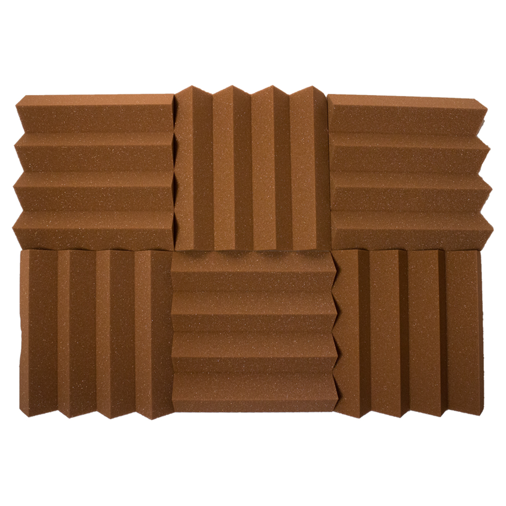 Seismic Audio 6 Pack of Brown 3 Inch Studio Acoustic Foam Sheets - Sound Dampening Tiles - SA-FMDM3-Brown-6Pack