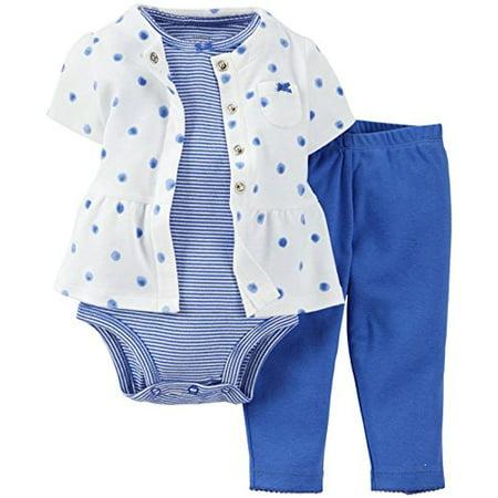 Girls Polka Dot Cardigan (Baby Girls' 3 Piece Peplum Blue Polka Dot Cardigan Set- 9)