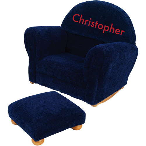 KidKraft - Personalized Blueberry Chenille Rocker and Ottoman, Red Block Font Boy's Name