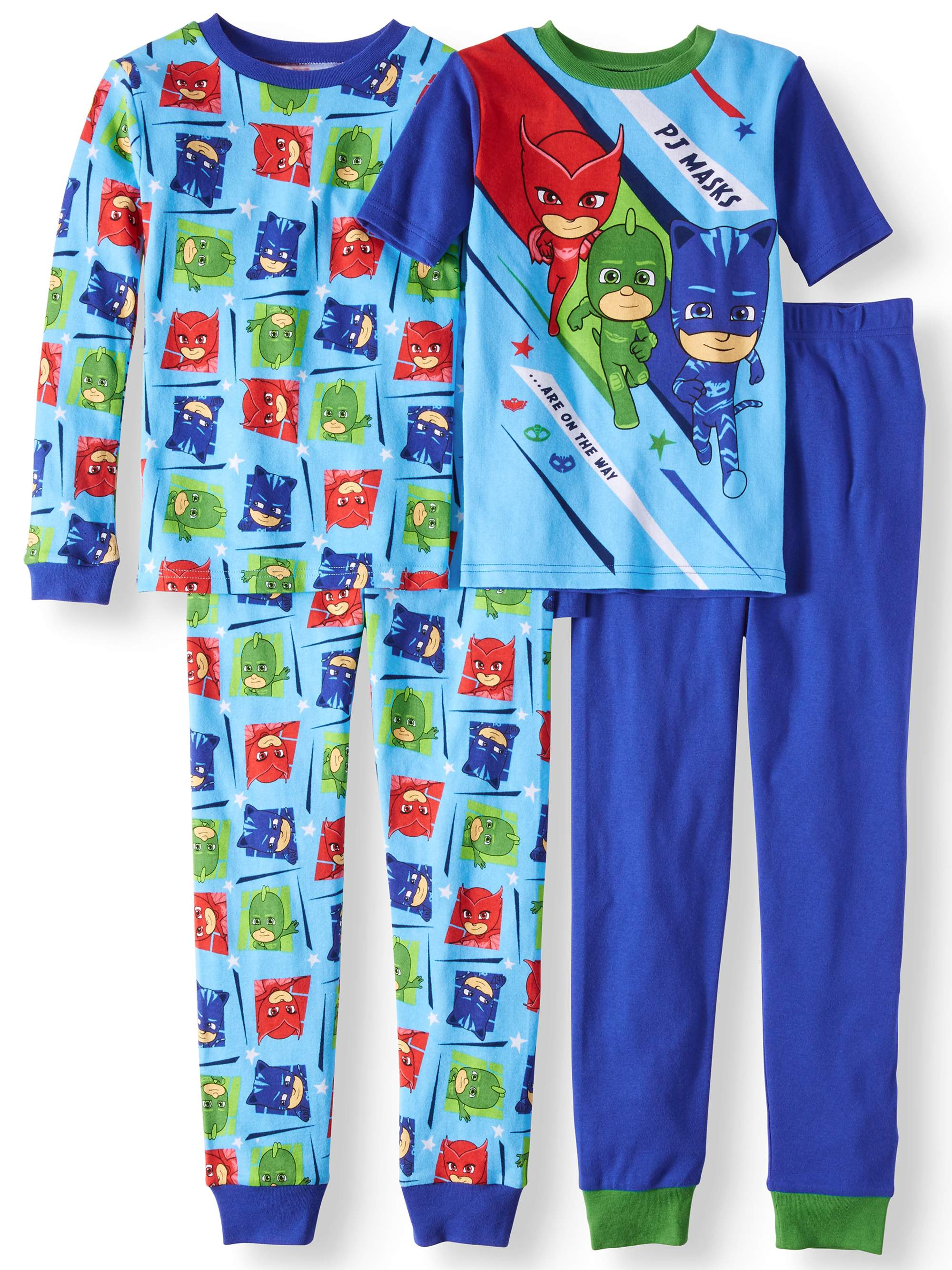 PJ Masks Boys' Cotton 4-Piece Pajama Sleep Set