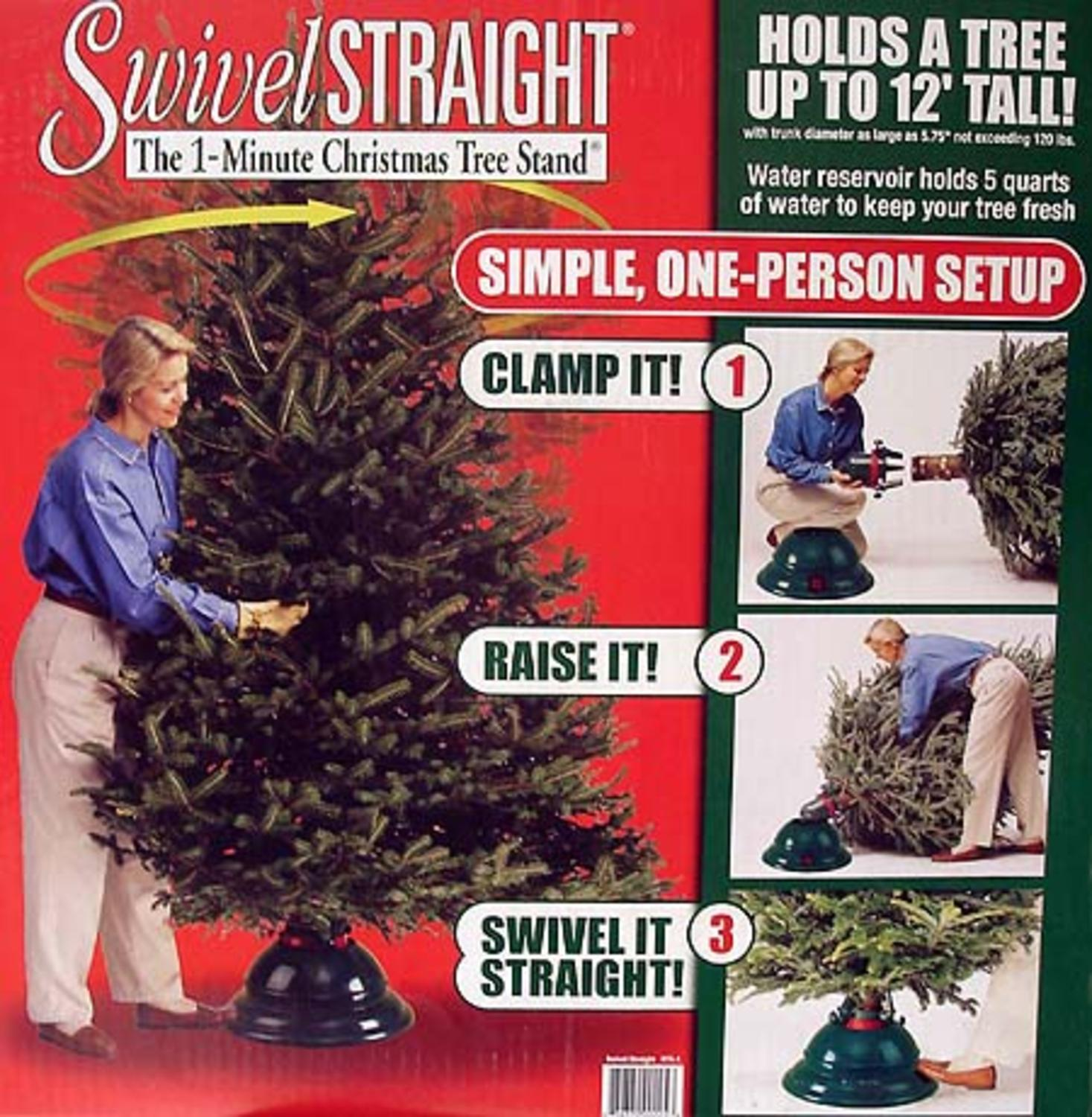 Swivel Straight 1-Minute Christmas Tree Stand - For Trees Up To 12 ...