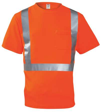 JOB SIGHT S75029 Hi-Vis T-Shirt, Short Sleeve, Orange, XL