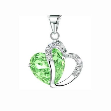 Fashion Women Heart Crystal Rhinestone Silver Chain Pendant Necklace Jewelry ()