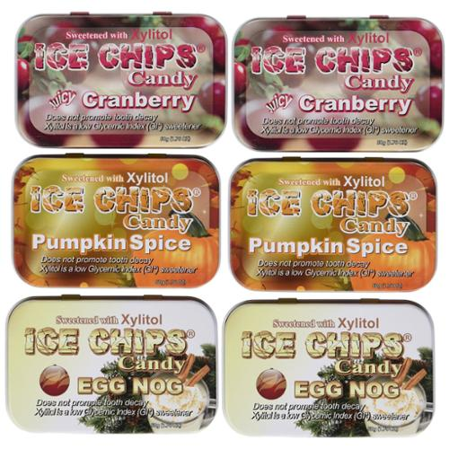 Ice Chips Holiday Pack Includes: Pumpkin Spice, Egg Nog, Cranberry (6 Pack)