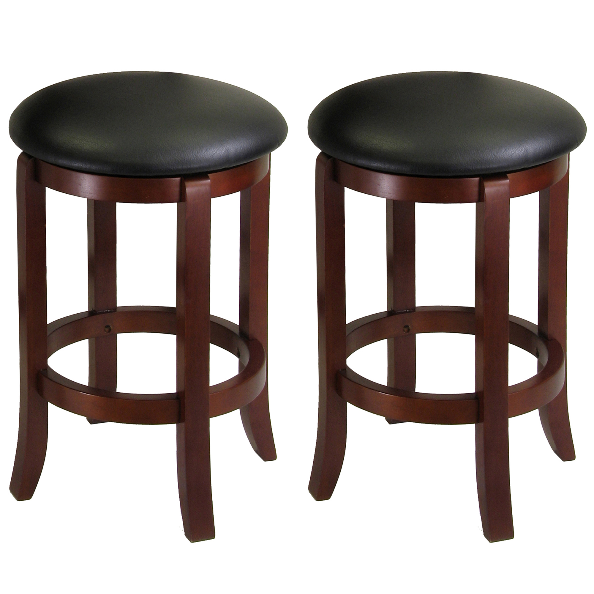 "Winsome Wood Walcott 24"" Faux Leather Swivel Seat Counter Stool, Set of 2, Walnut"