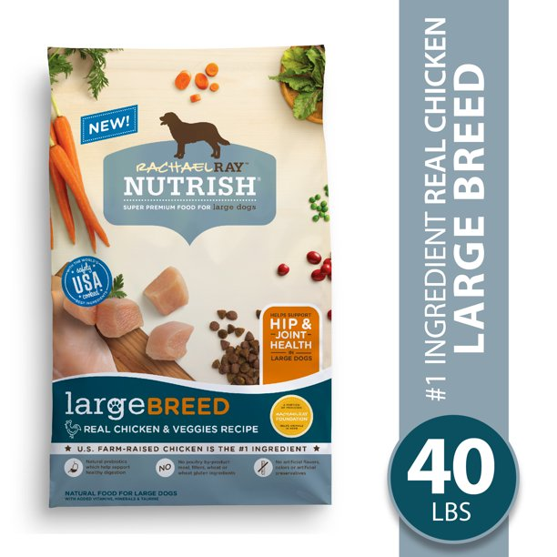 Rachael Ray Nutrish Large Breed Natural Premium Dry Dog Food, Real Chicken & Veggies Recipe, 40 lbs