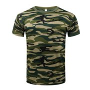 Lavaport Mens Vintage Camo T-Shirt Short Sleeve Camouflage Blouse Shirts