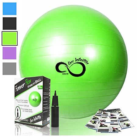 Exercise Ball -Professional Grade Exercise Equipment Anti Burst Tested with Hand Pump- Supports 2200lbs- Includes Workout Guide Access- 55cm/65cm/75cm/85cm Balance Balls (Lime Green, 65 cm) (Workout Equipment Bosu Ball)