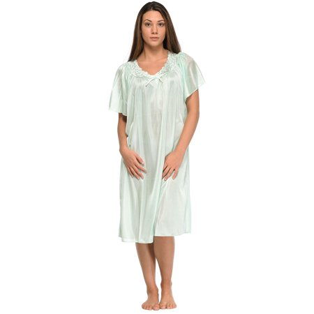 (Casual Nights Women's Scalloped Neck Short Sleeve Satin Nightgown)