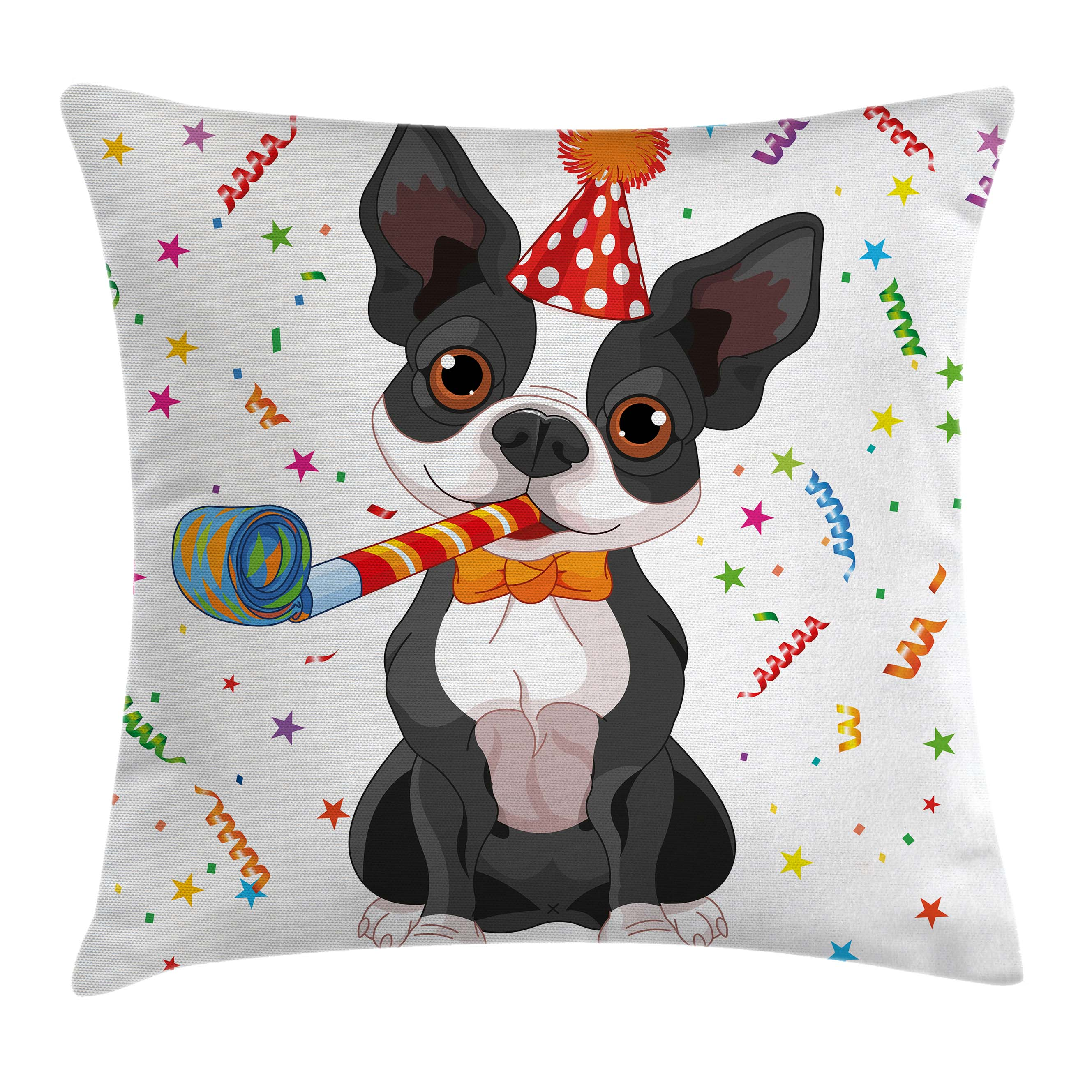 Birthday Decorations for Kids Throw Pillow Cushion Cover Black and