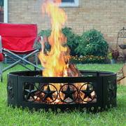 Sunnydaze Round Heavy-duty Steel Crossweave Cut Out Campfire Ring - 36-inch