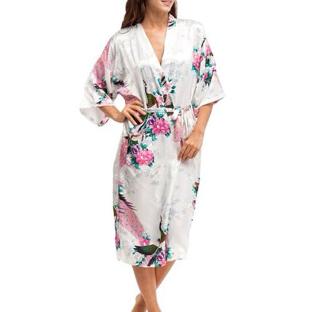 Womens Floral Silk Satin Kimono Bathrobe Robe Wedding Bride Bridesmaid  Sleepwear - Walmart.com bc07ac24f