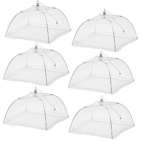 (6 Pack) Large Pop-Up Mesh Screen Food Cover Tent Umbrella, 17 inch, Reusable and Collapsible Outdoor Picnic Food Covers Mesh, Food Cover Net Keep Out Flies, Bugs, -