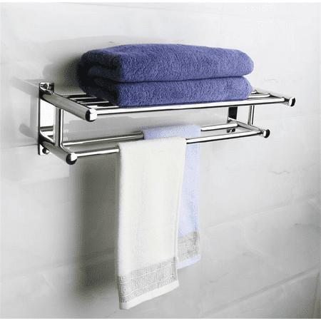 Stainless Steel Towel Rack Bathroom Wall Mounted Shelf Storage
