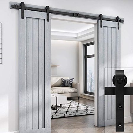 Easelife 8 Foot Double Sliding Barn Door Hardware Track Kit Heavy Duty Diy Easy
