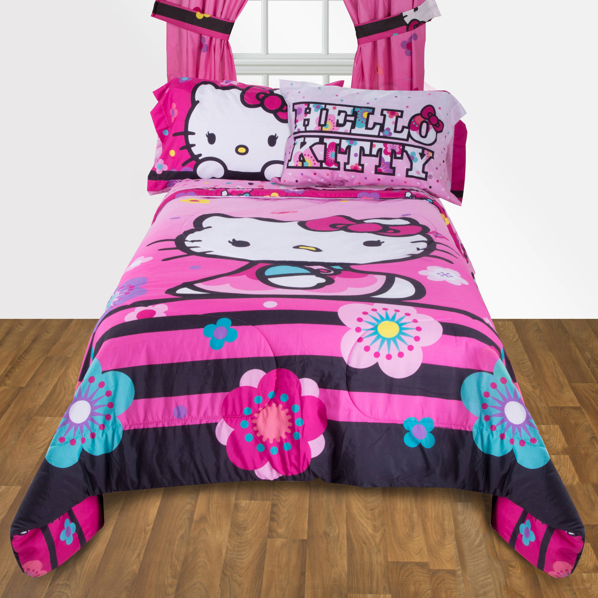 Pink hello kitty bedsheet - Hello Kitty Floral Ombre Reversible Twin Full Bedding Comforter Walmart Com