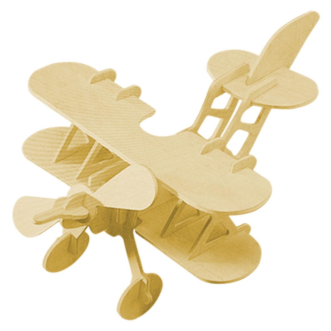 3D Wooden Bi-plane Model Construction Kit DIY Puzzle Toy Gift