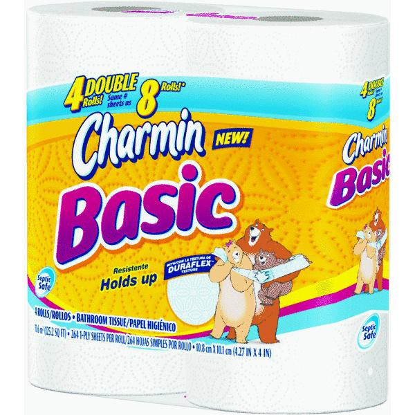 Charmin Basic Double Roll Bathroom Tissue, 4 rolls