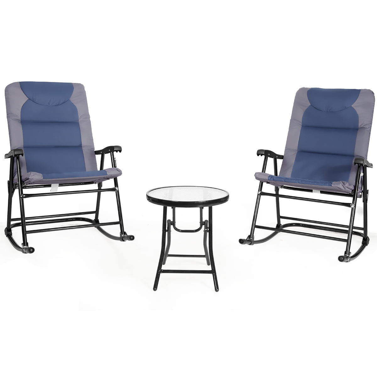Costway 3 Piece Folding Bistro Set, Outdoor Rocking Chairs Set Of 2