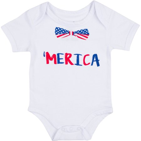 Funny Baby Gift Merica Onesie - Humorous America Clothes for Newborn - 0-3 - Blanket Sleepers For Toddlers
