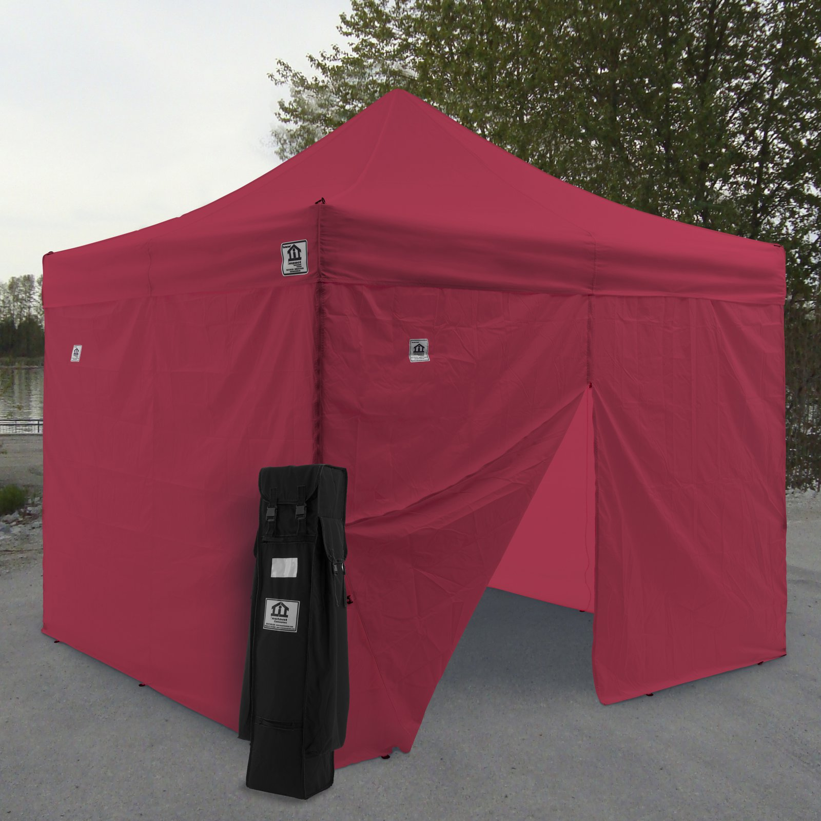 Click here to buy Impact Canopy AOL 10x10 ft. Ez Pop Up Canopy Tent Instant Canopy Aluminum with Wheeled Roller Bag and Sidewalls by Impact Images Inc.